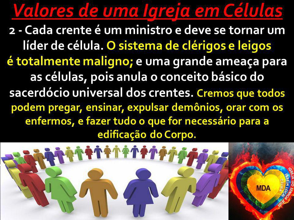 Valores de uma Igreja em Células 2 - Cada crente é um ministro e deve se tornar um líder de célula. O sistema de clérigos e leigos é totalmente malign