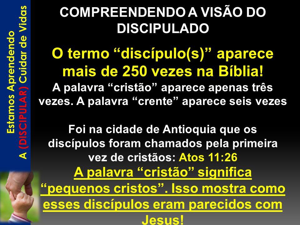 """COMPREENDENDO A VISÃO DO DISCIPULADO Estamos Aprendendo A (DISCIPULAR) Cuidar de Vidas O termo """"discípulo(s)"""" aparece mais de 250 vezes na Bíblia! A p"""