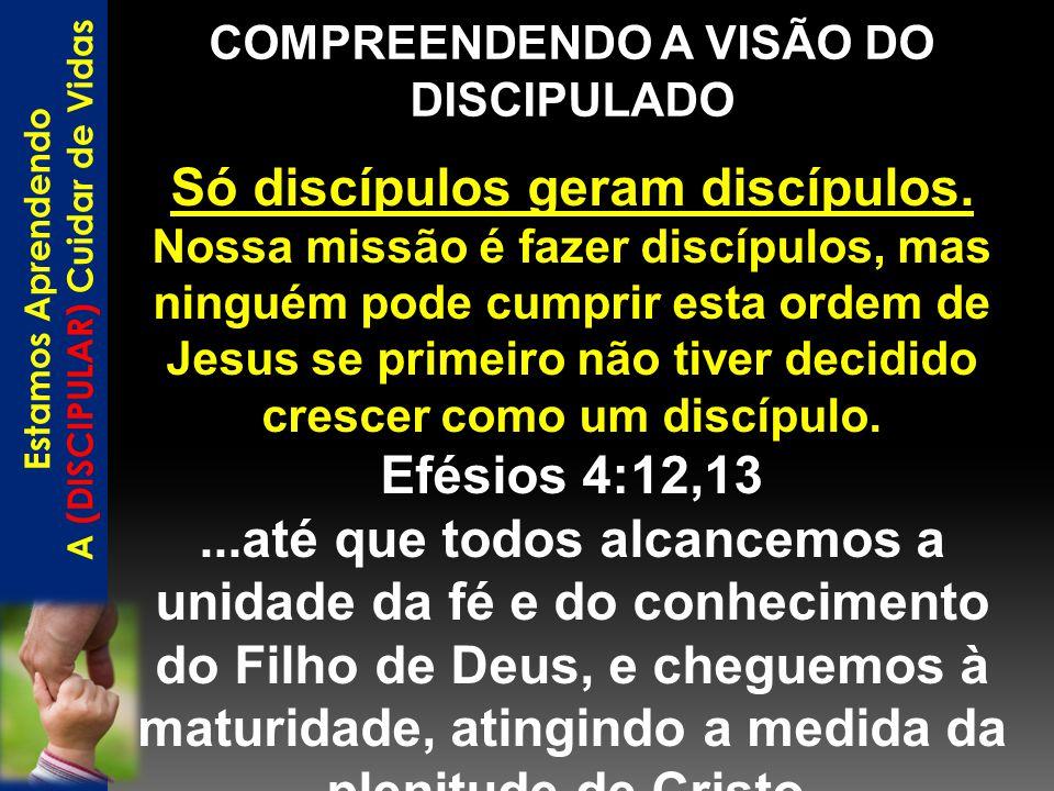 COMPREENDENDO A VISÃO DO DISCIPULADO Estamos Aprendendo A (DISCIPULAR) Cuidar de Vidas Só discípulos geram discípulos. Nossa missão é fazer discípulos