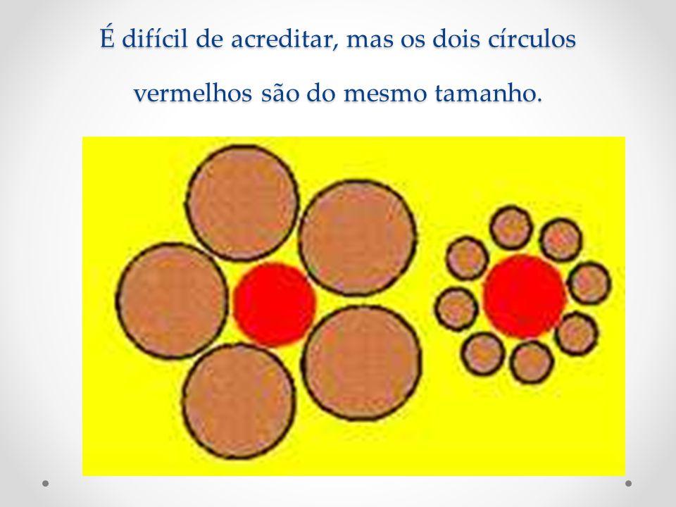 É difícil de acreditar, mas os dois círculos vermelhos são do mesmo tamanho.