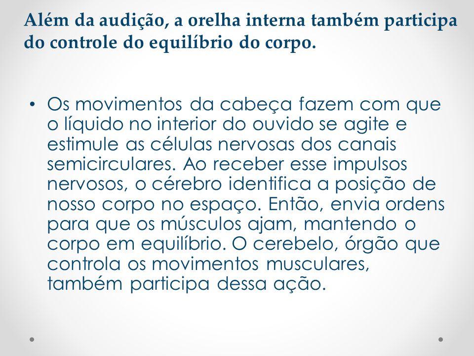 • Os movimentos da cabeça fazem com que o líquido no interior do ouvido se agite e estimule as células nervosas dos canais semicirculares. Ao receber