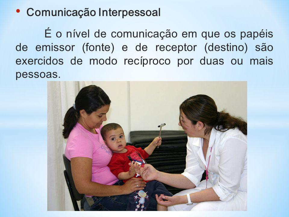 • Comunicação Interpessoal É o nível de comunicação em que os papéis de emissor (fonte) e de receptor (destino) são exercidos de modo recíproco por du