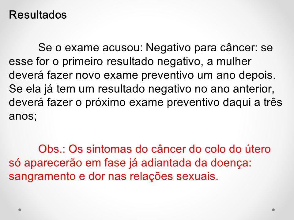 Resultados Se o exame acusou: Negativo para câncer: se esse for o primeiro resultado negativo, a mulher deverá fazer novo exame preventivo um ano depo