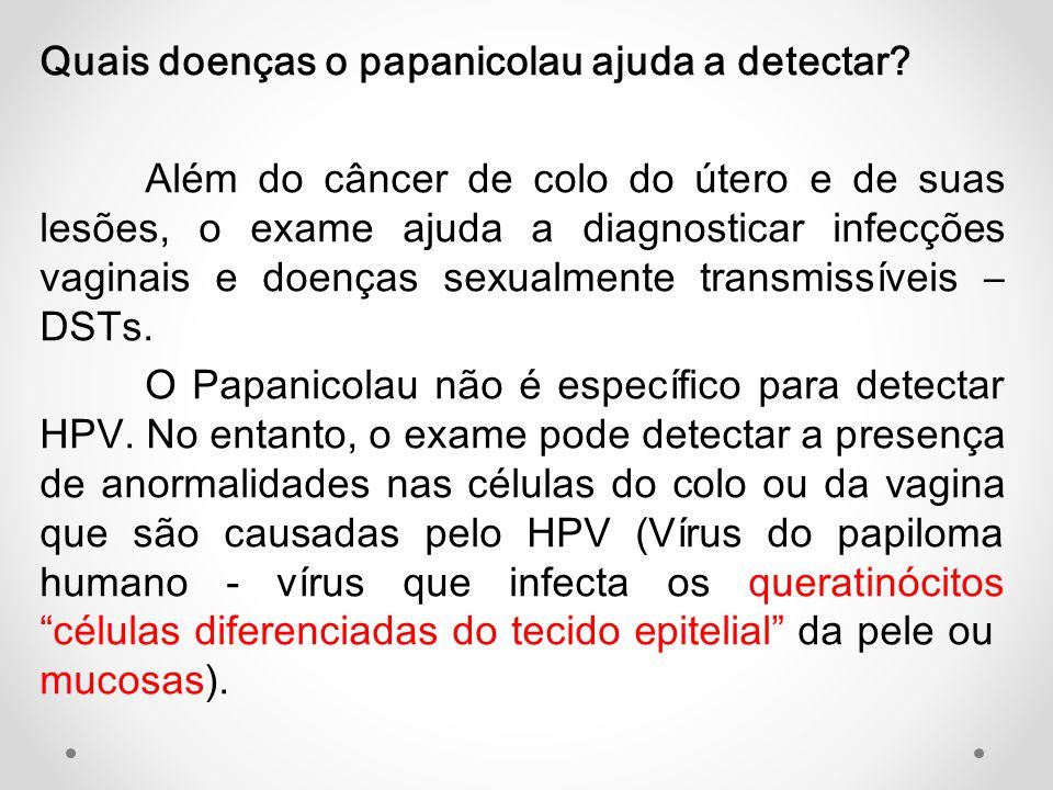 Quais doenças o papanicolau ajuda a detectar? Além do câncer de colo do útero e de suas lesões, o exame ajuda a diagnosticar infecções vaginais e doen