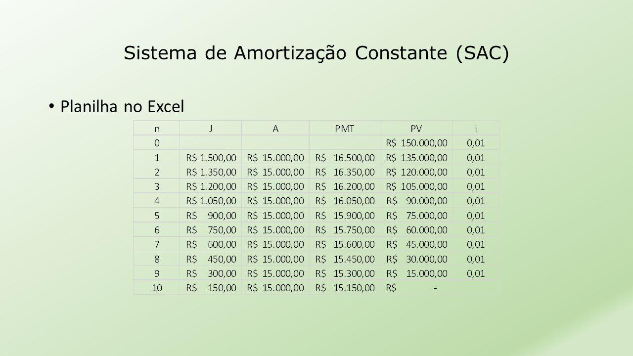• Planilha no Excel