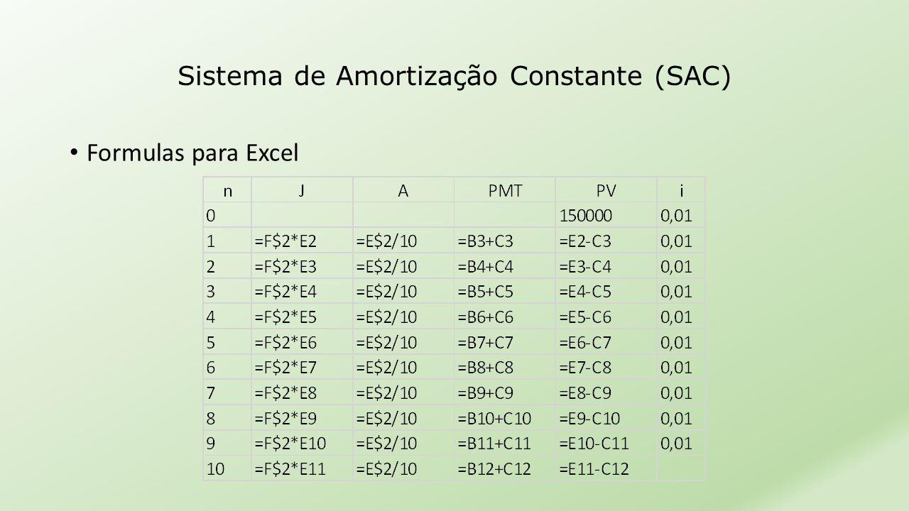 Sistema de Amortização Constante (SAC) • Formulas para Excel