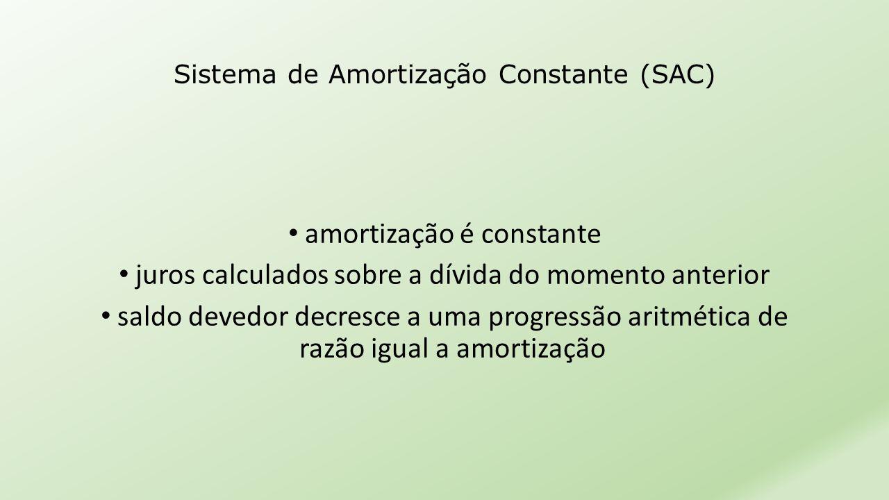 • amortização é constante • juros calculados sobre a dívida do momento anterior • saldo devedor decresce a uma progressão aritmética de razão igual a
