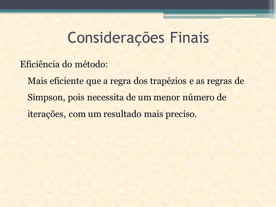 Considerações Finais Eficiência do método: Mais eficiente que a regra dos trapézios e as regras de Simpson, pois necessita de um menor número de iterações, com um resultado mais preciso.