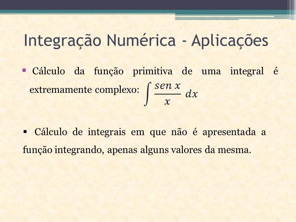 Integração Numérica - Aplicações  Cálculo da função primitiva de uma integral é extremamente complexo:  Cálculo de integrais em que não é apresentada a função integrando, apenas alguns valores da mesma.