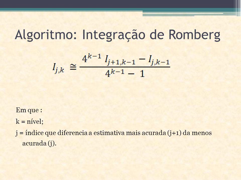 Algoritmo: Integração de Romberg Em que : k = nível; j = índice que diferencia a estimativa mais acurada (j+1) da menos acurada (j).
