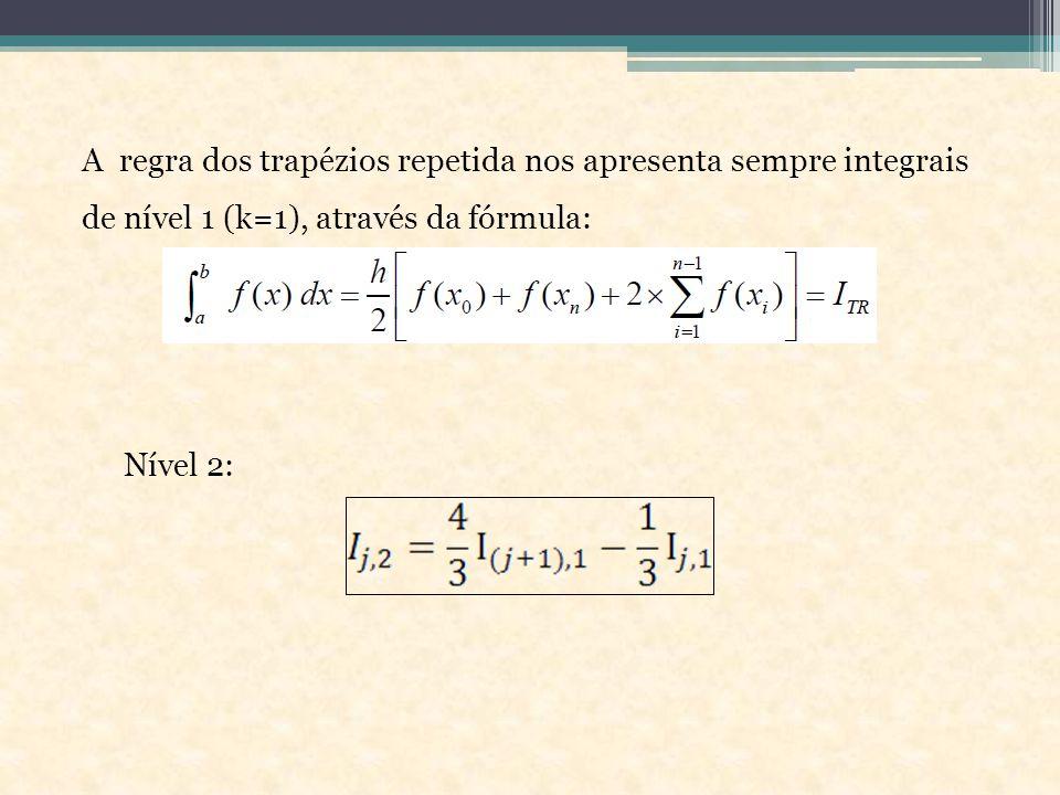 A regra dos trapézios repetida nos apresenta sempre integrais de nível 1 (k=1), através da fórmula: Nível 2: