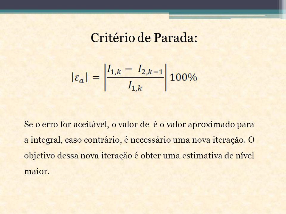 Critério de Parada: Se o erro for aceitável, o valor de é o valor aproximado para a integral, caso contrário, é necessário uma nova iteração.