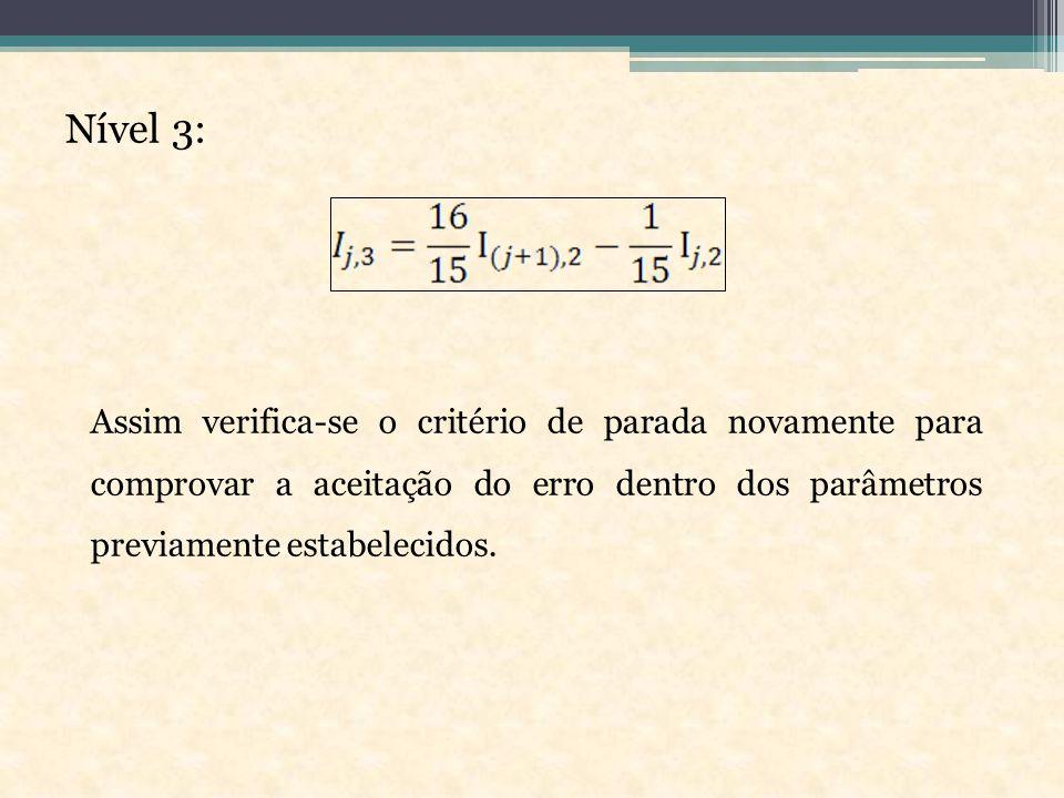 Nível 3: Assim verifica-se o critério de parada novamente para comprovar a aceitação do erro dentro dos parâmetros previamente estabelecidos.