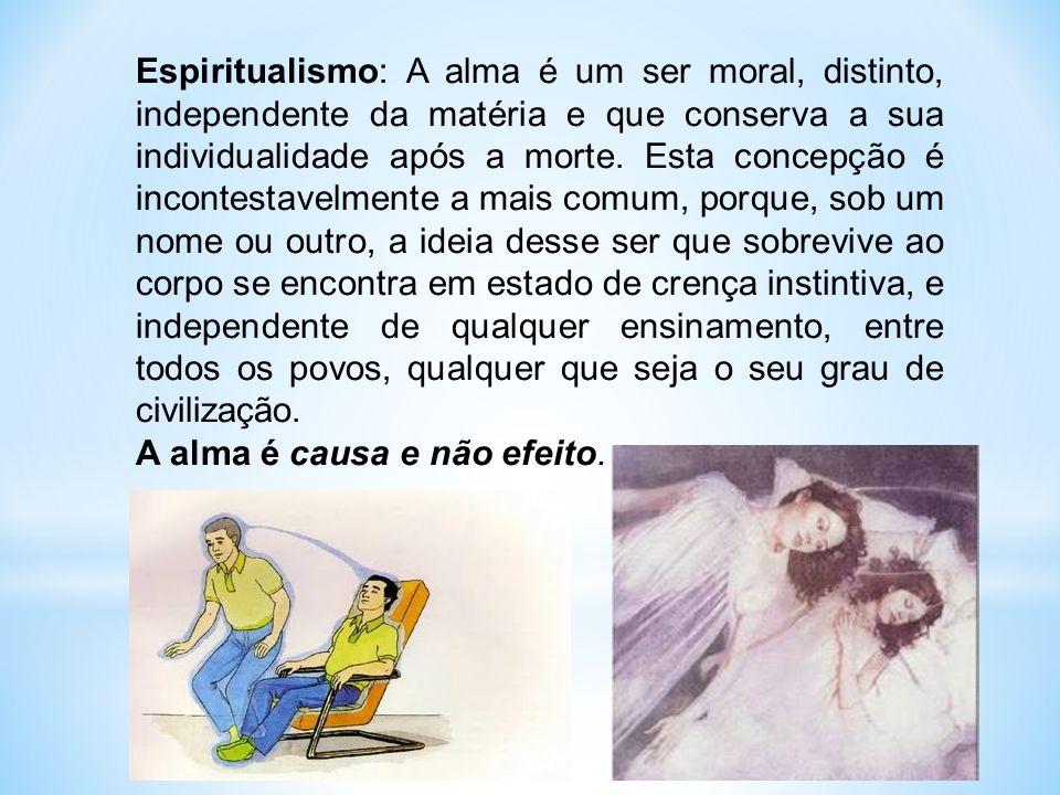 Espiritualismo: A alma é um ser moral, distinto, independente da matéria e que conserva a sua individualidade após a morte.