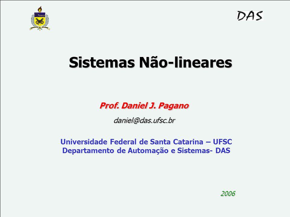 1 Sistemas Não-lineares 2006 Prof. Daniel J. Pagano daniel@das.ufsc.br Universidade Federal de Santa Catarina – UFSC Departamento de Automação e Siste