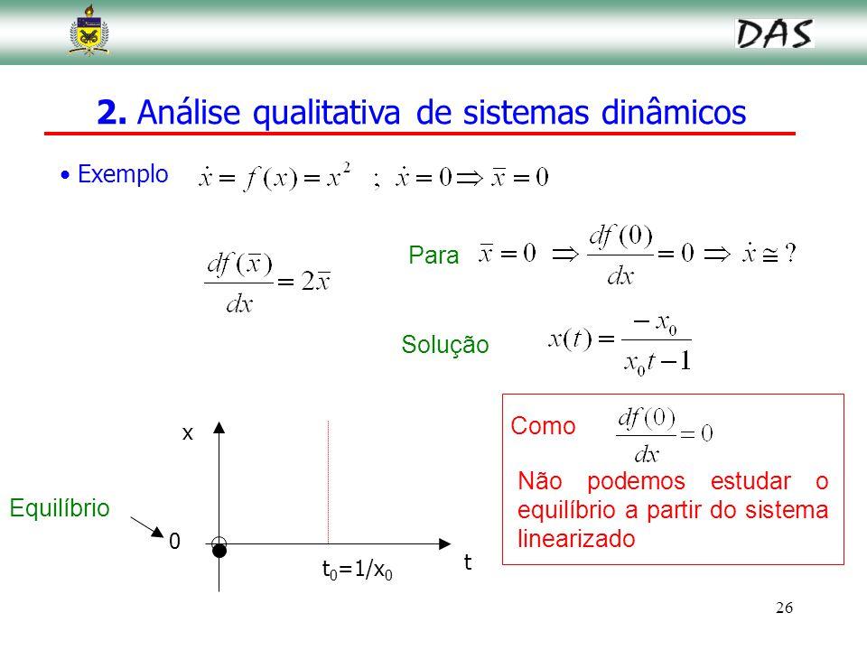 26 Exemplo Para Solução x 0 t Equilíbrio t 0 =1/x 0 Não podemos estudar o equilíbrio a partir do sistema linearizado Como 2. Análise qualitativa de si