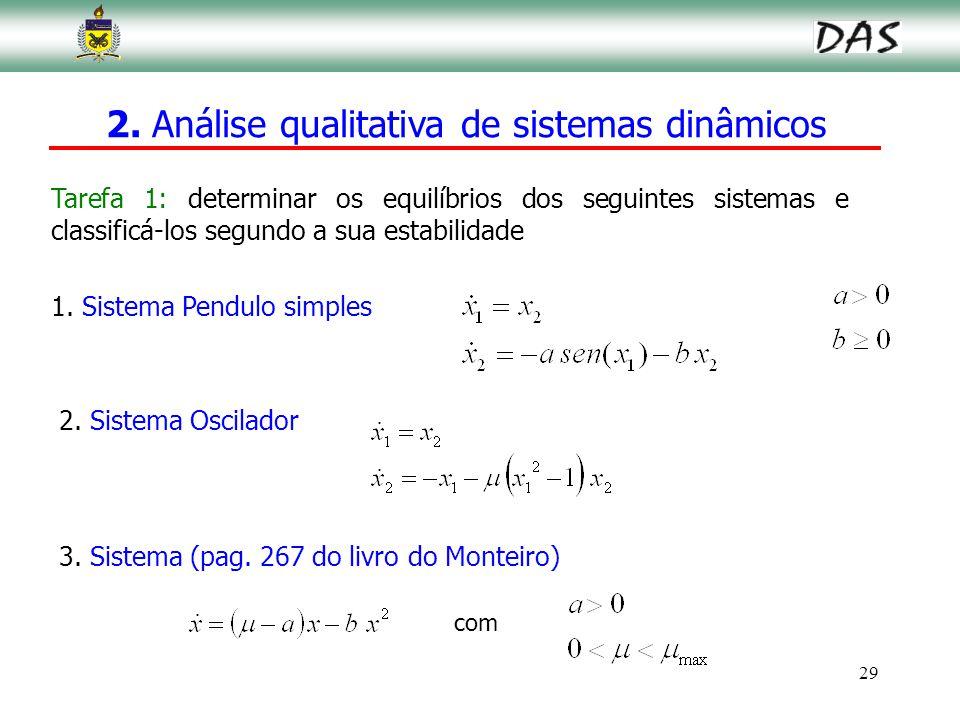 29 1. Sistema Pendulo simples 2. Sistema Oscilador 2. Análise qualitativa de sistemas dinâmicos Tarefa 1: determinar os equilíbrios dos seguintes sist