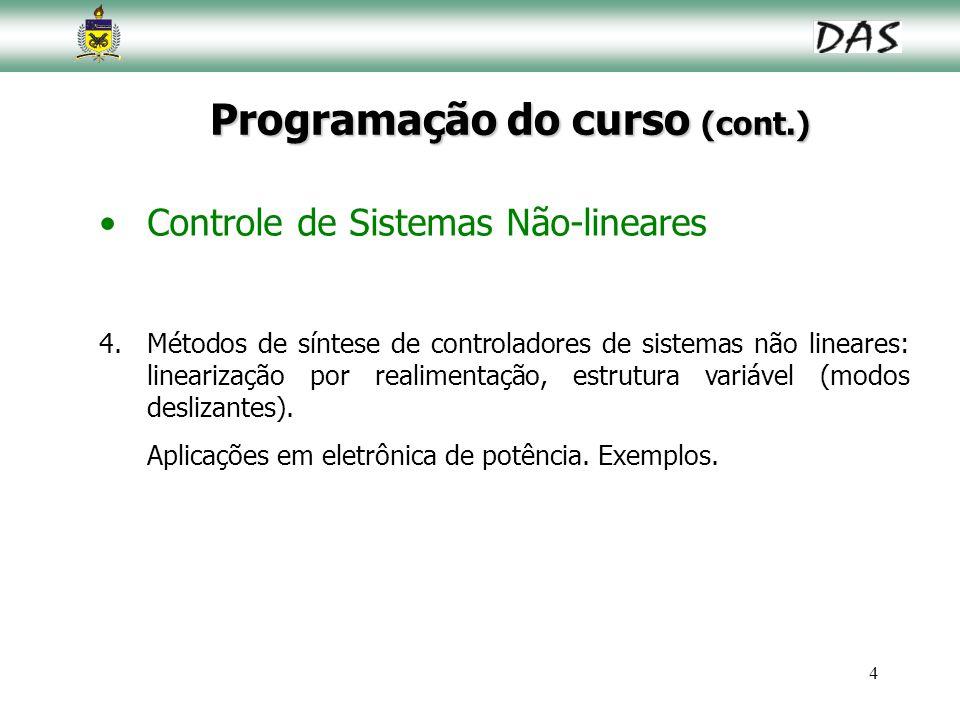 4 Programação do curso (cont.) Controle de Sistemas Não-lineares 4.Métodos de síntese de controladores de sistemas não lineares: linearização por real