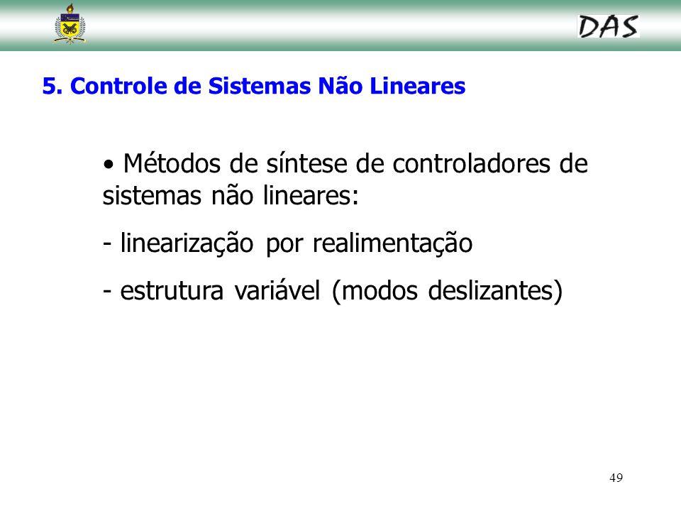 49 5. Controle de Sistemas Não Lineares Métodos de síntese de controladores de sistemas não lineares: - linearização por realimentação - estrutura var