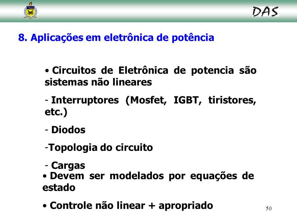 50 8. Aplicações em eletrônica de potência Circuitos de Eletrônica de potencia são sistemas não lineares - Interruptores (Mosfet, IGBT, tiristores, et