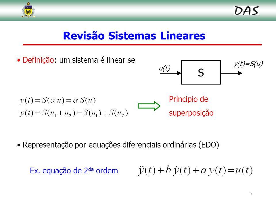 7 Revisão Sistemas Lineares Definição: um sistema é linear se Principio de superposição S u(t) y(t)=S(u) Representação por equações diferenciais ordin