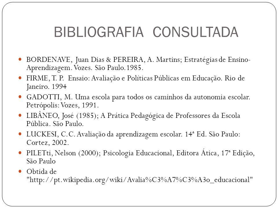BIBLIOGRAFIA CONSULTADA BORDENAVE, Juan Dias & PEREIRA, A. Martins; Estratégias de Ensino- Aprendizagem. Vozes. São Paulo.1985. FIRME, T. P. Ensaio: A