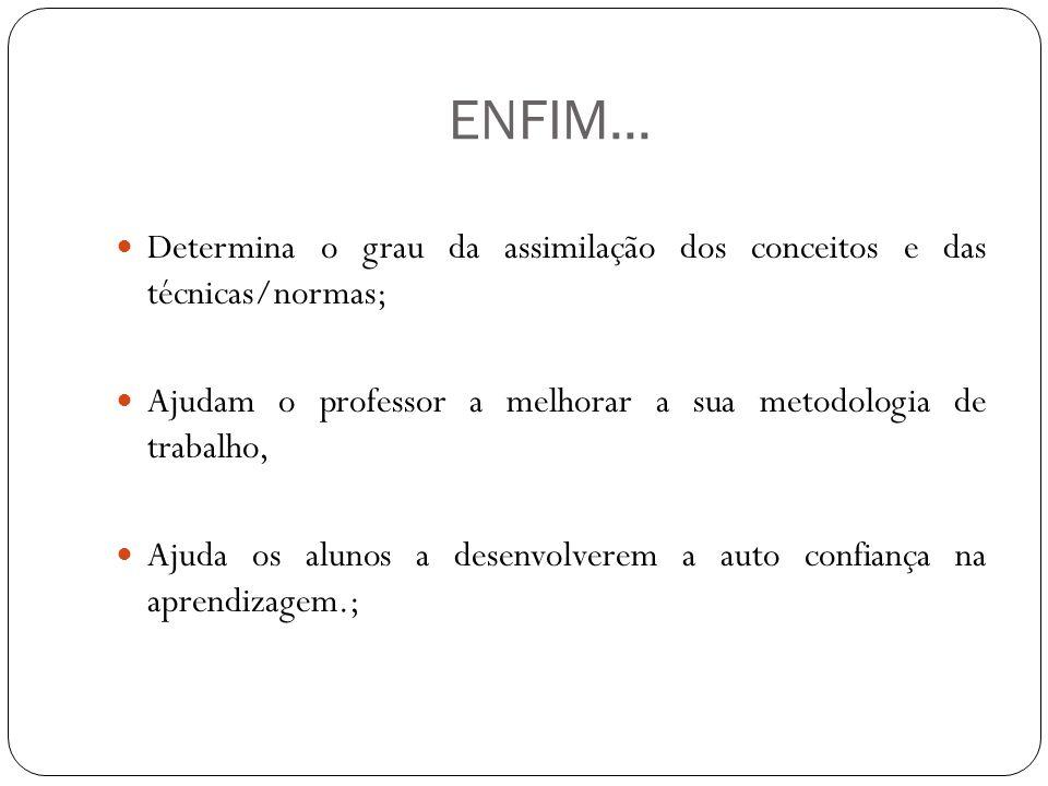ENFIM... Determina o grau da assimilação dos conceitos e das técnicas/normas; Ajudam o professor a melhorar a sua metodologia de trabalho, Ajuda os al
