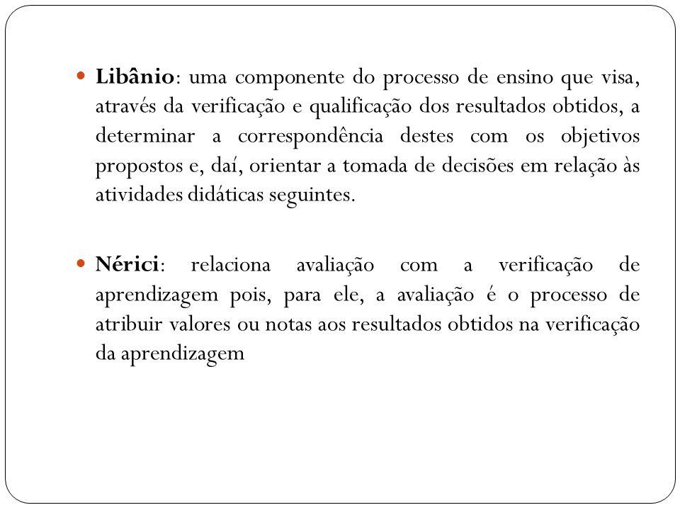 Libânio: uma componente do processo de ensino que visa, através da verificação e qualificação dos resultados obtidos, a determinar a correspondência d