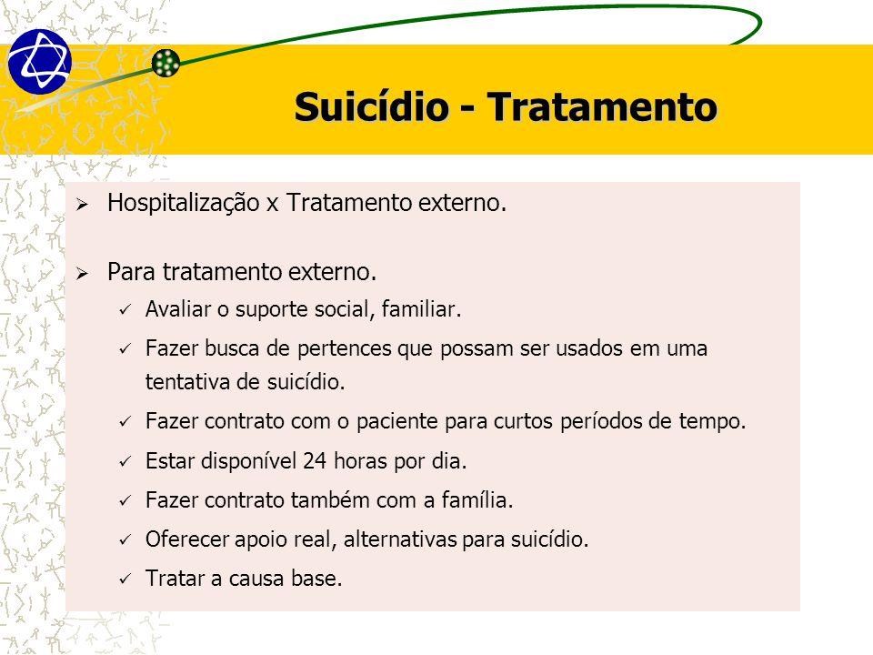 Suicídio - Tratamento  Hospitalização x Tratamento externo.