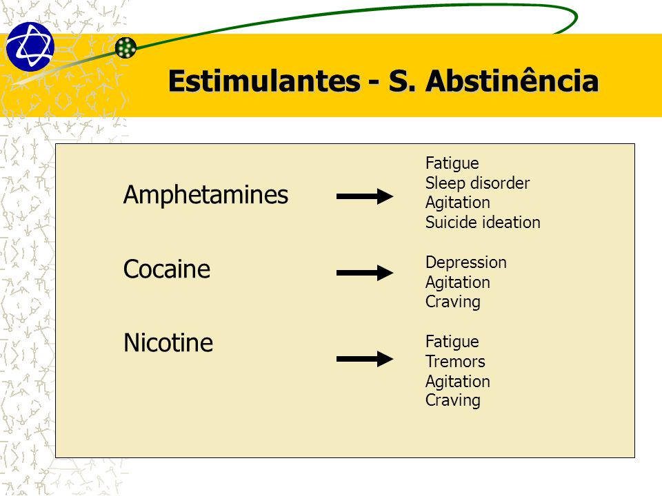 Estimulantes - S. Abstinência Amphetamines Cocaine Nicotine Fatigue Sleep disorder Agitation Suicide ideation Depression Agitation Craving Fatigue Tre