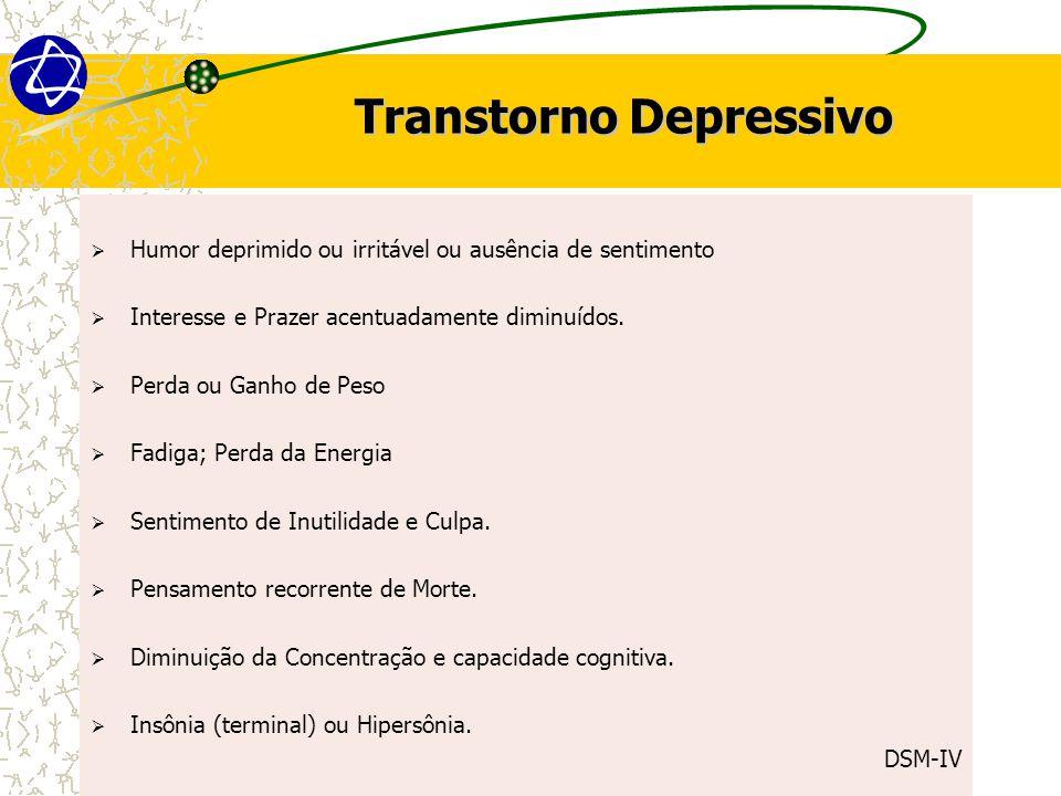 Transtorno Depressivo  Humor deprimido ou irritável ou ausência de sentimento  Interesse e Prazer acentuadamente diminuídos.