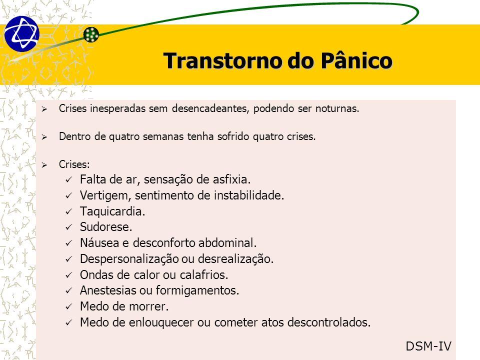 Transtorno do Pânico  Crises inesperadas sem desencadeantes, podendo ser noturnas.