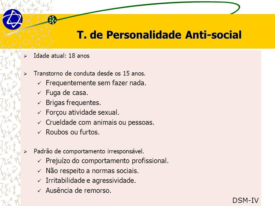 T.de Personalidade Anti-social  Idade atual: 18 anos  Transtorno de conduta desde os 15 anos.