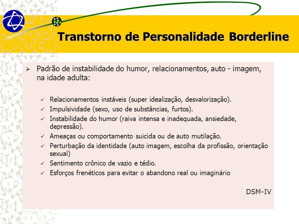 Transtorno de Personalidade Borderline  Padrão de instabilidade do humor, relacionamentos, auto - imagem, na idade adulta: Relacionamentos instáveis (super idealização, desvalorização).