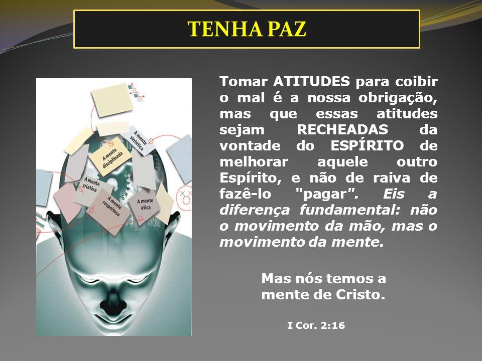Tomar ATITUDES para coibir o mal é a nossa obrigação, mas que essas atitudes sejam RECHEADAS da vontade do ESPÍRITO de melhorar aquele outro Espírito,