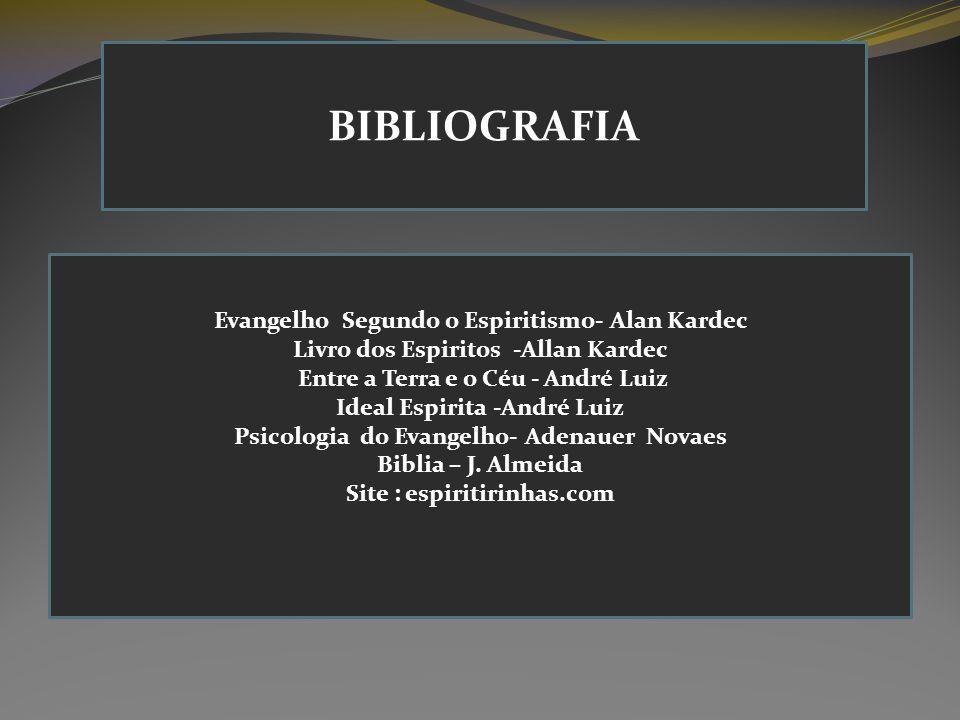 BIBLIOGRAFIA Evangelho Segundo o Espiritismo- Alan Kardec Livro dos Espiritos -Allan Kardec Entre a Terra e o Céu - André Luiz Ideal Espirita -André L