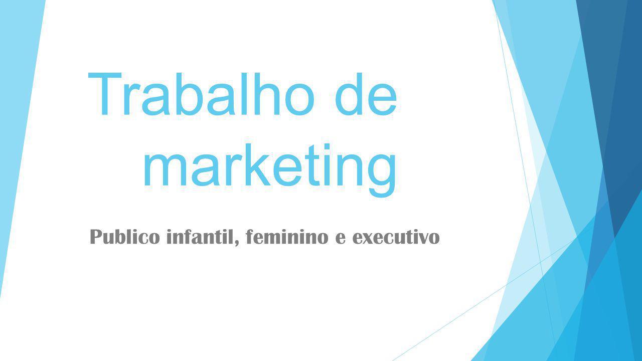 Trabalho de marketing Publico infantil, feminino e executivo