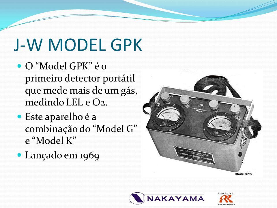 """J-W MODEL GPK O """"Model GPK"""" é o primeiro detector portátil que mede mais de um gás, medindo LEL e O2. Este aparelho é a combinação do """"Model G"""" e """"Mod"""