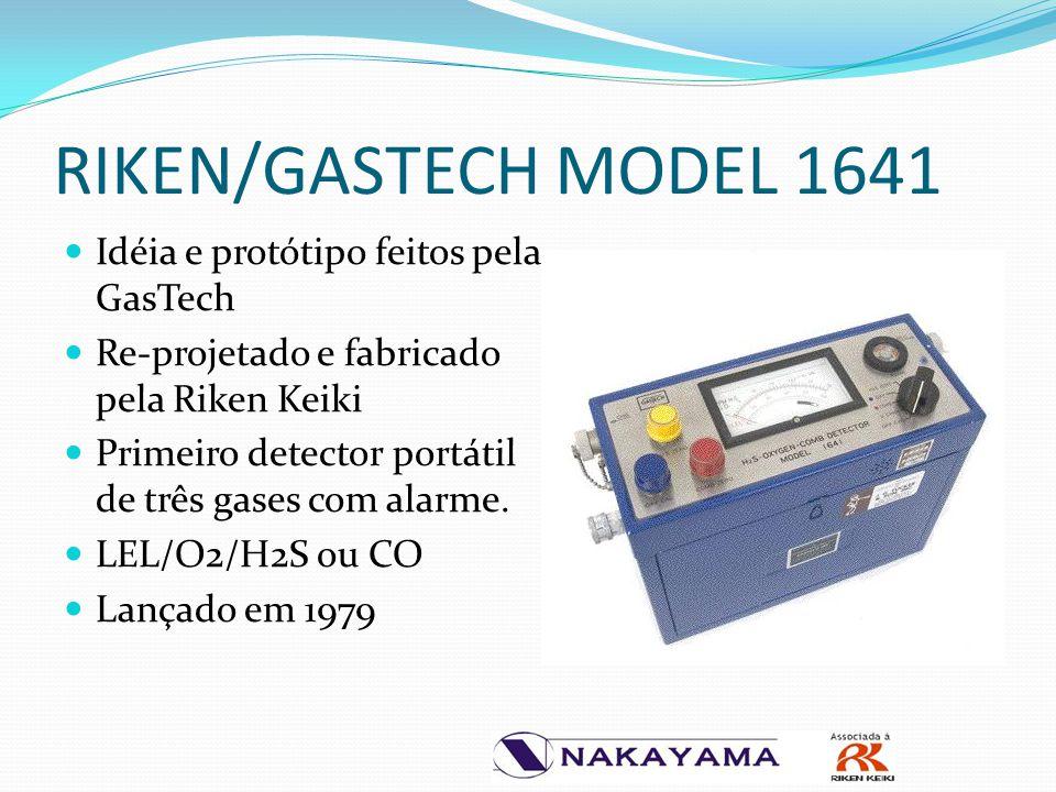 RIKEN/GASTECH MODEL 1641 Idéia e protótipo feitos pela GasTech Re-projetado e fabricado pela Riken Keiki Primeiro detector portátil de três gases com