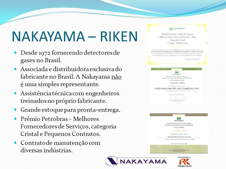NAKAYAMA – RIKEN Desde 1972 fornecendo detectores de gases no Brasil. Associada e distribuidora exclusiva do fabricante no Brasil. A Nakayama não é um