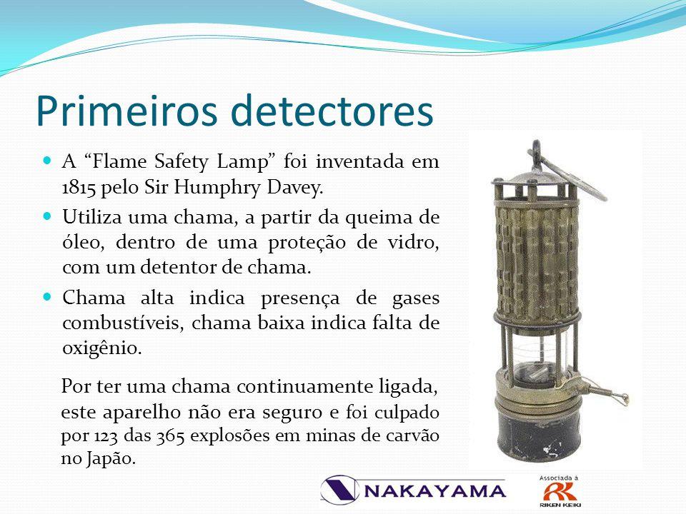 """Primeiros detectores A """"Flame Safety Lamp"""" foi inventada em 1815 pelo Sir Humphry Davey. Utiliza uma chama, a partir da queima de óleo, dentro de uma"""