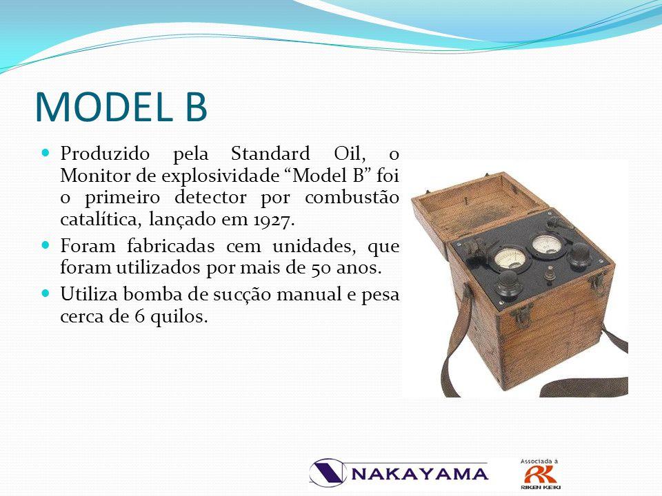 """Produzido pela Standard Oil, o Monitor de explosividade """"Model B"""" foi o primeiro detector por combustão catalítica, lançado em 1927. Foram fabricadas"""