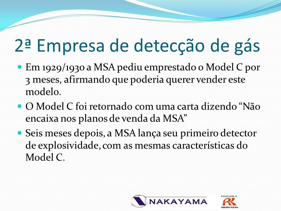 2ª Empresa de detecção de gás Em 1929/1930 a MSA pediu emprestado o Model C por 3 meses, afirmando que poderia querer vender este modelo. O Model C fo