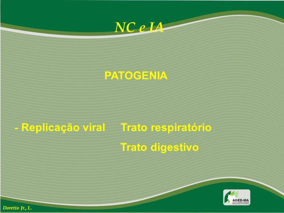 PATOGENIA - Replicação viral Trato respiratório Trato digestivo NC e IA Doretto Jr., L.