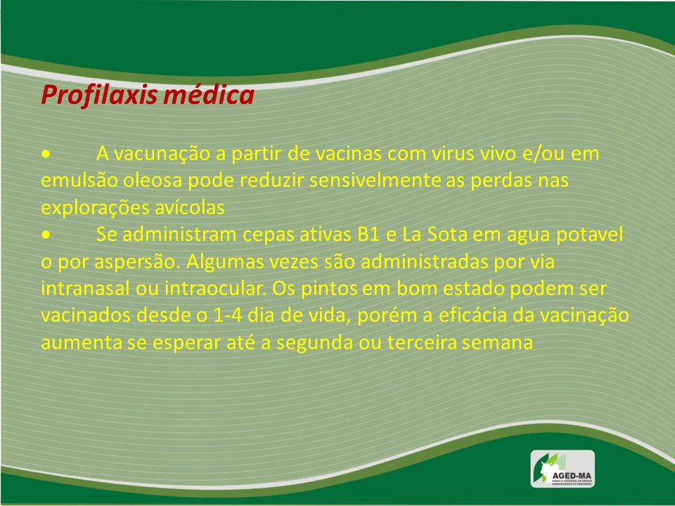 Profilaxis médica  A vacunação a partir de vacinas com virus vivo e/ou em emulsão oleosa pode reduzir sensivelmente as perdas nas explorações avícola