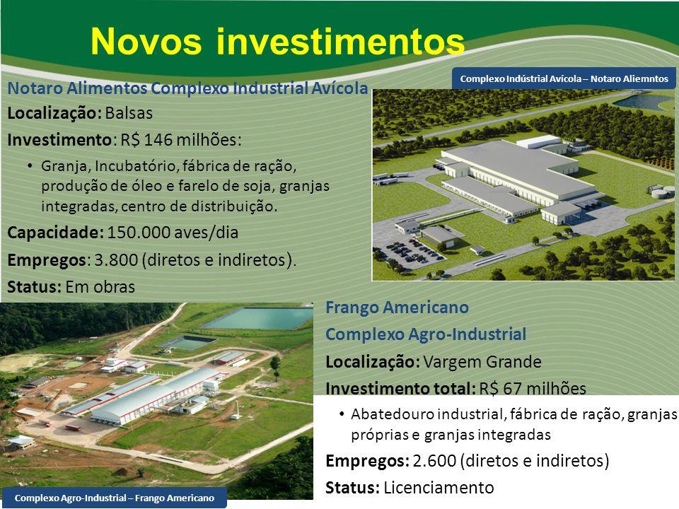 Localização: Balsas Investimento: R$ 146 milhões: Granja, Incubatório, fábrica de ração, produção de óleo e farelo de soja, granjas integradas, centro
