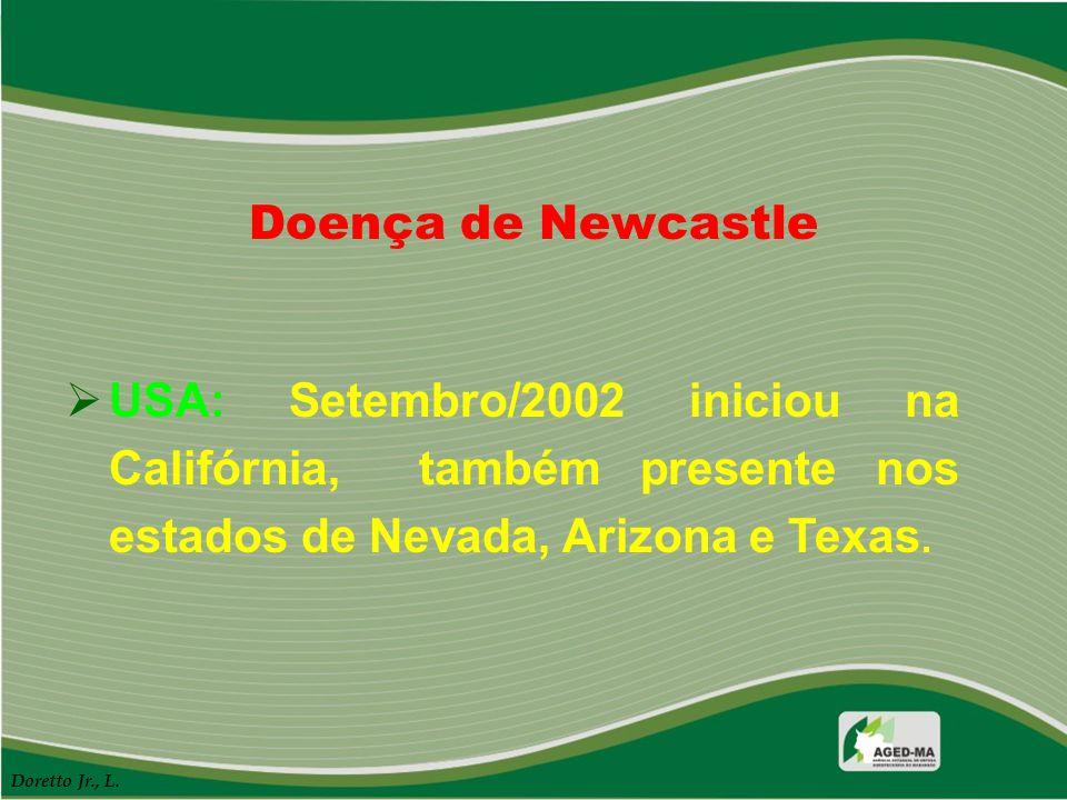 Doença de Newcastle  USA: Setembro/2002 iniciou na Califórnia, também presente nos estados de Nevada, Arizona e Texas. Doretto Jr., L.