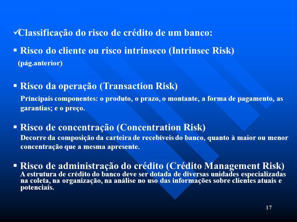 17 Classificação do risco de crédito de um banco:  Risco do cliente ou risco intrínseco (Intrinsec Risk) (pág.anterior)  Risco da operação (Transact