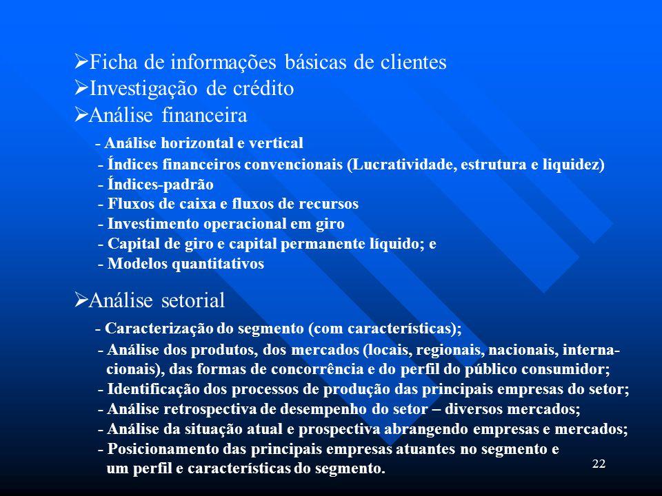 22  Ficha de informações básicas de clientes  Investigação de crédito  Análise financeira - Análise horizontal e vertical - Índices financeiros con