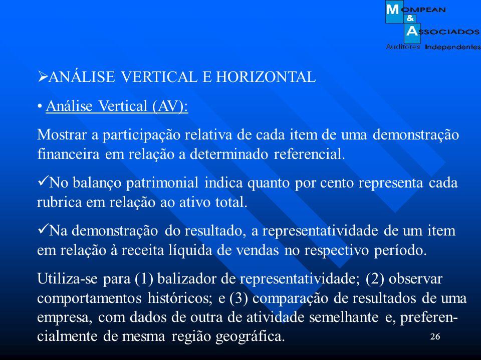 26  ANÁLISE VERTICAL E HORIZONTAL Análise Vertical (AV): Mostrar a participação relativa de cada item de uma demonstração financeira em relação a det